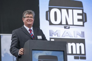 Geoff du Plessis Managing Director of Man Trucks SA welcomes guests to the launch