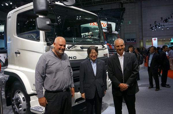 Seen on the Hino stand at the Tokyo Motor Show are (from left): Leslie Long, Hino SA Senior Manager – Marketing, Demand and Product Planning; Koichi Ojima, Executive Vice President of Hino Motors Limited, and Ernie Trautmann, Hino SA Vice President.