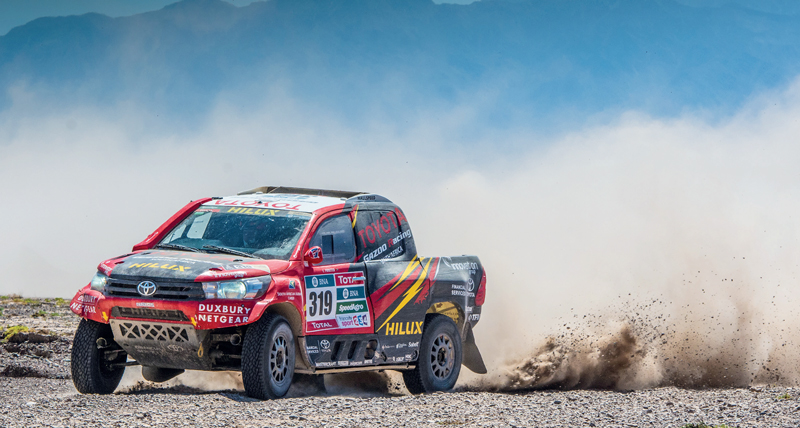Leeroy Poulter and Rob Howie at speed during this year's Dakar Rally.