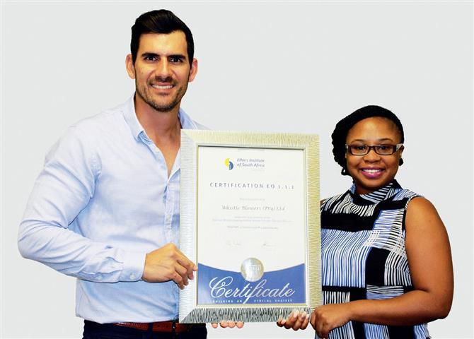 Dale Horne and Ntokozo Mngadi of Whistle Blowers proudly display the certificate the company has received from Ethics Institute of South Africa. A 2014 fraud study entitled the ACFE Report to the Nations on Occupational Fraud and Abuse found that employees accounted for nearly 50% of all tips.