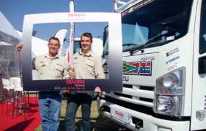 Clive and Brian Baragwanath with the Isuzu NPS 300 4x4 they used as a support vehicle on the Dakar Rally.