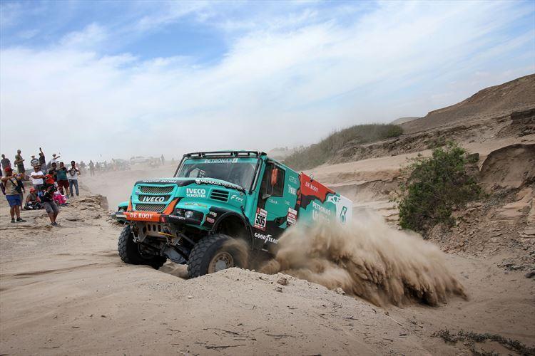 Team De Rooy Iveco Truck at Dakar Rally 2019.