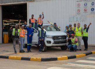 Guys at Ford's Silverton Assembly Plant in Pretoria with the new Ford Ranger.