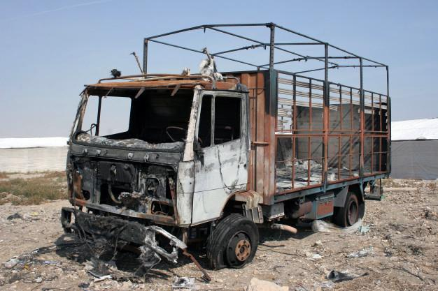 burned abandoned truck, time to secure our truck drivers' safety