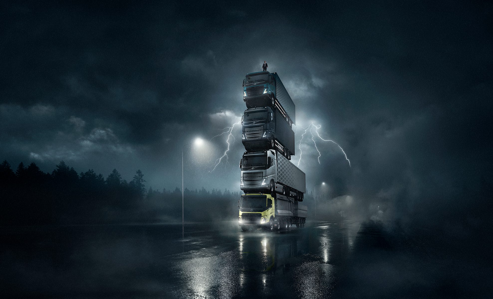 Volvo launches four new trucks by stacking them on top of each other