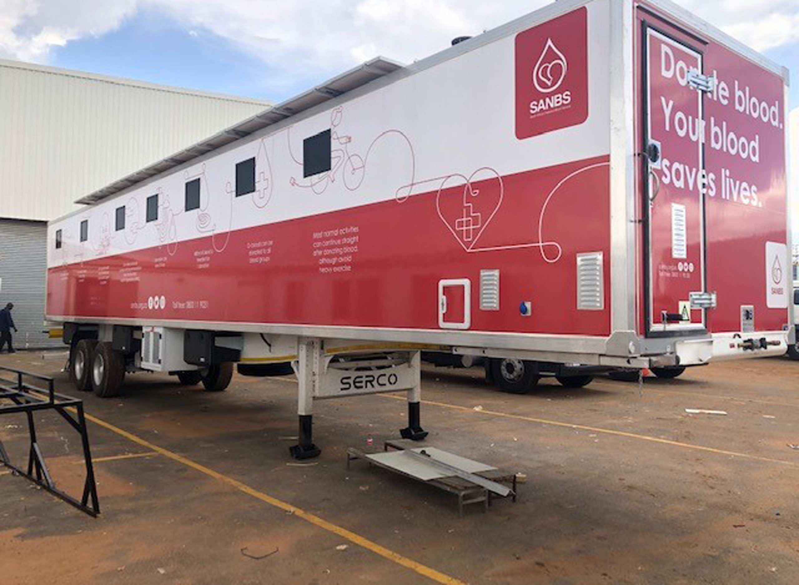 Serco Trailer used to Save Lives as Mobile Blood bank with EVC